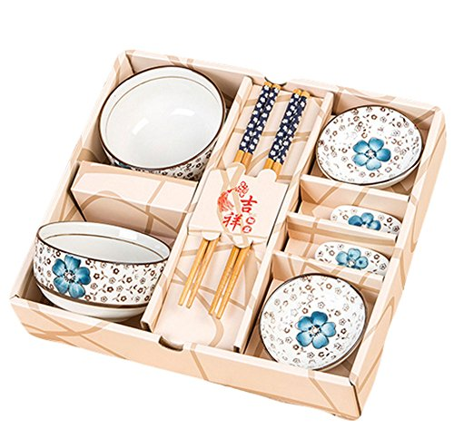 King Ma 8 Piece Floral Ceramic Tableware Japanese Dinnerware