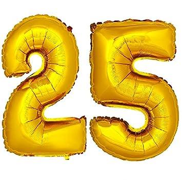 DekoRex® 25 Globo en Oro 80cm de Alto decoración cumpleaños para Aire número