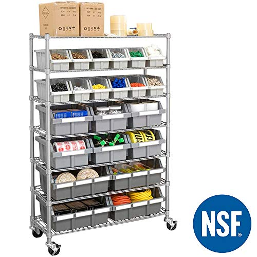 Seville Classics Commercial 7-Tier Platinum/Gray NSF 22-Bin Rack Storage System