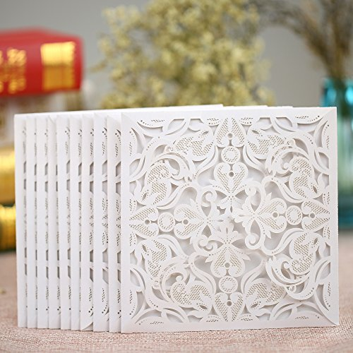 Anself 10Pcs Lace Wedding Party Invitation Card for Bridal Shower Birthday ()