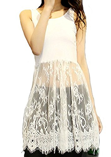 Women Lace Trimmed Top Extender Extra Long Tank Vest Dress (X-Large, White)
