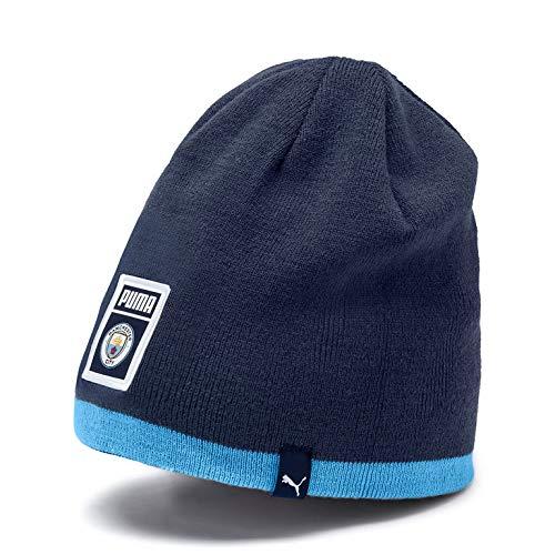 Manchester City F.C. Men's Official Puma DNA Reversible Beanie Hat, Peacoat-Team Light Blue, OSFA