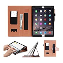 iPad Pro Case Cover, FYY [Super Functional Series] Premium PU Leather Case Stand Cover with Card Slots, Note Holder, Quality Hand Strap and Elastic Strap for iPad Pro 12.9 inch Black (With Auto Wake/Sleep Feature)