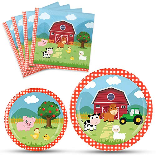 WERNNSAI Farm Party Plates Napkins Set- Barnyard Farm Animals Tableware Party Supplies for Kids Birthday Baby Shower Disposable Dinnerware Dinner Dessert Plates Luncheon Napkins Serves 16 Guests (Dinnerware Animals Barnyard)