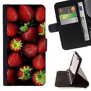 For HTC DESIRE 816 Case , Fruto de color rojo oscuro verde vibrante- la tarjeta de Crédito Slots PU Funda de cuero Monedero caso cubierta de piel