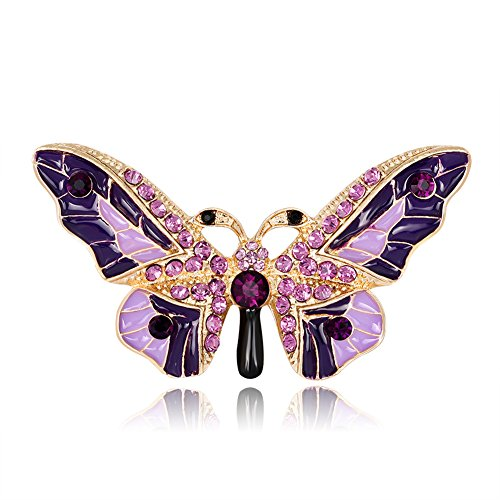 Dress Butterfly Brooch (Lastnight Graceful Butterfly Brooch Pin Rhinestone for Women Shirt Scarf Sweater Dress Jewelry Decor Purple)