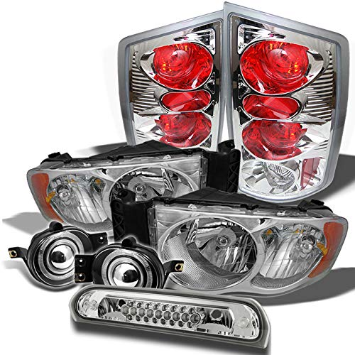 Xtune for 2002-2005 Dodge Ram Headlights + Tail Lights + Halo Projector Fog Lamps + LED 3rd Brake Lamp 2003 2004 ()