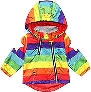 Boy Girl Spring Jacket Baby Striped Rainbow Star Hoodie Toddler Kid Hooded Coat Windbreaker Outwear