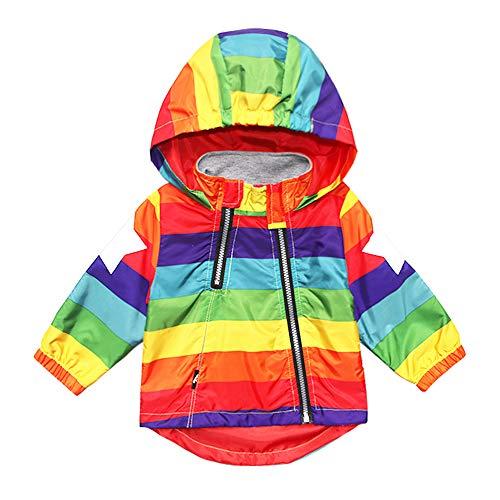 (Boy Girl Spring Jacket Baby Striped Rainbow Star Hoodie Toddler Kid Hooded Coat Windbreaker Outwear 18M)