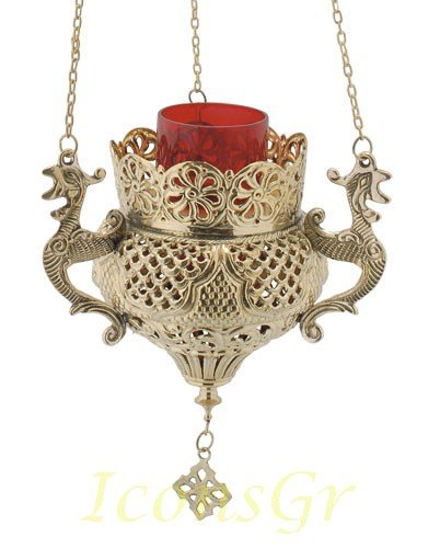 Orthodox Greek Christian Bronze Hanging Votive Vigil Oil Lamp with Chain and Red Glass - 9688b