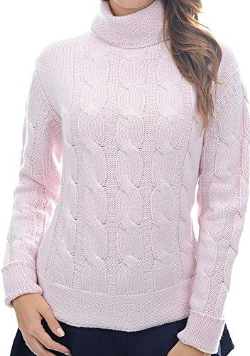 Pullover Pullover Pullover Cashmere Zopfmuster Damen fädig fädig fädig zartrosa Rollkragen L 100 Balldiri 12 PfqT66