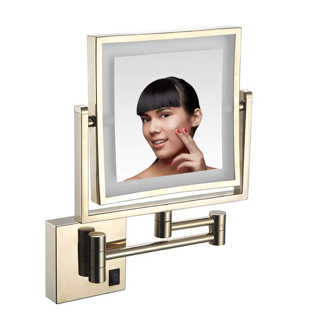Makeup Mirror LED Luminated Wall Mount Make Up Mirror, 8 Inch Bathroom Shaving Mirror Wall Mounted Square Vanity Mirror, 360° Swivel 3X Magnification Two-Sided Optional Plug,Gold,BZplug by Makeup Mirror