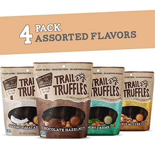 Trail Truffles - Vegan, Paleo Friendly Superfood Protein Balls - Healthy, Plant Based, Gluten Free, Dairy Free, Soy Free, Non-GMO Snacks (Assorted Flavors, 4 Pack)