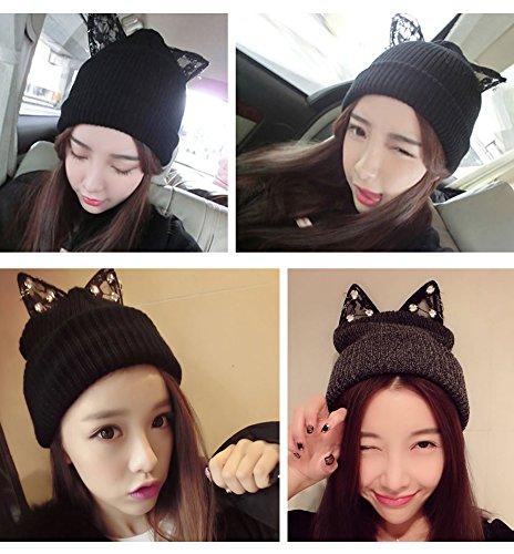 maglia con Cappello a lavorato invernale orecchie Cute a Kitten Ear Angtuo lavorato grigio maglia cappello fxtYdwwq