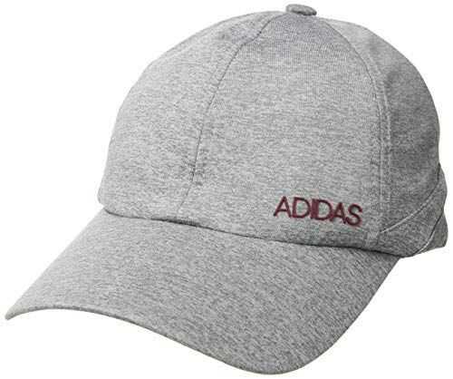 adidas Women's Sport2street Relaxed Adjustable Cap, grey/clear Onix heather/Noble maroon, One Size