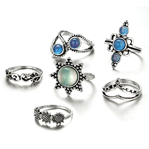 Octagonal Sunflower (Hi-Unique 6 Pcs Vintage Cat's Eye Stone Flower Crown Hollow Punk Knuckle Joint Nail Rings Sets for Women)