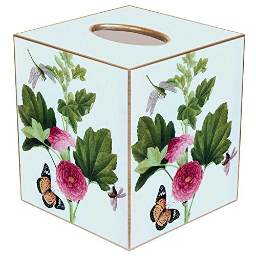 (Pink Peony & Butterfly Paper Mache Tissue Box Cover)