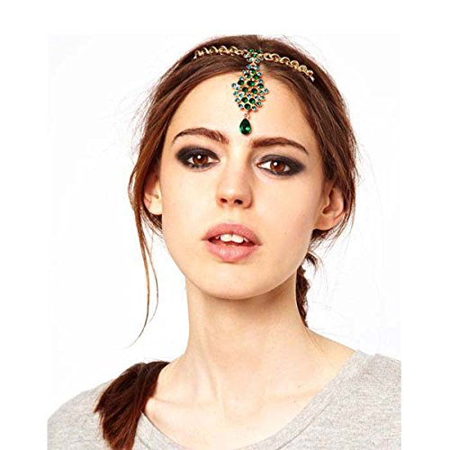 Hot Chicer Indian Headpieces with Crystal Pedant Hair Clips accessories for Women and Girls (Gold) supplier