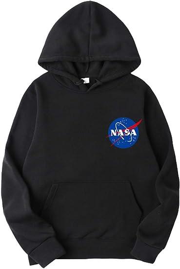 EMILYLE Homme Sweat à Capuche NASA Pull Imprimé Logo Espace Aéronautique Geek Hoodie Rétro Vintage