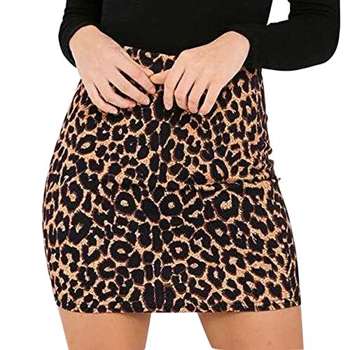 CHIDY Dress for Women's Leopard Printed Skirt High Waist Pencil Bodycon Hip Mini Skirt (Skirt Leopard Stretch)