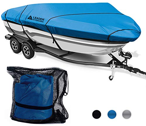 Leader Accessories 300D Polyester 5 Colors Waterproof Trailerable Runabout Boat Cover Fit V-Hull Tri-Hull Fishing Ski Pro-Style Bass Boats, Full Size (17'-19'L Beam Width up to 96'', Navy Blue)