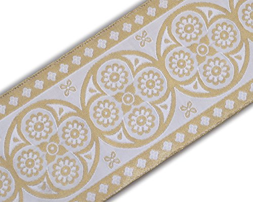 Ribbon Jacquard Trim White (Vestment Ribbon Very Wide Jacquard Trim Metallic Gold on White 3¾