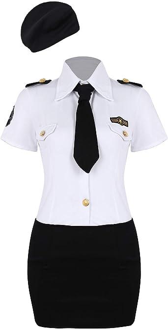 MSemis Disfraz de Policía Sexy para Mujeres Uniformes Policía 4Pcs Traje Camisa Falda Corta Gorra y Corbata Disfraces Adulto Halloween Fiesta: Amazon.es: Ropa y accesorios