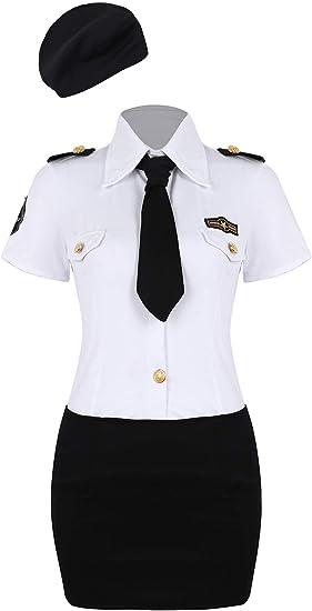 YOOJIA Mujer Uniforme de Policía Disfraz de Cosplay 4 Piezas Camisa Blanca+Mini Falda Negro+Corbata+Sombrero Juego de rol Adulto: Amazon.es: Ropa y accesorios
