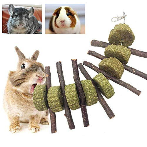 Bunny Chew Toys for Teeth, PeSandy Organic Apple Wood Molar Sticks with Timothy Hay Circles for Bunny Chinchilla Guinea Pig Hamsters Holland Lop Prairie Dogs Squirrels Gerbils, Improves Dental Health ()