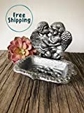 Antique Silver Decorative Soap Dish for Kitchen or Bathroom - Cute Rustic Sponge Holder – Farmhouse Christmas Gift