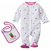 Carter's White I Love Hugs Sleeper and Bib Set 6 Months