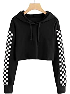 Imily Bela Kids Crop Tops Girls Hoodies Cute Plaid Long Sleeve Fashion Sweatshirts