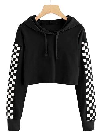 1a3bd4de1118 Imily Bela Kids Crop Tops Girls Hoodies Cute Plaid Long Sleeve Fashion  Sweatshirts Black