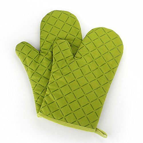 Vokul 27 cm, guantes de cocina acochados de material ignífugo con silicona, resistencia al calor hasta 200 °C (paquete de 2)