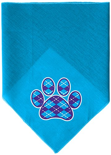 Mirage Pet Products Argyle Paw Purple Screen Print Bandana for Pets, Large, Turquoise (Shih Paw Prints Tzu)
