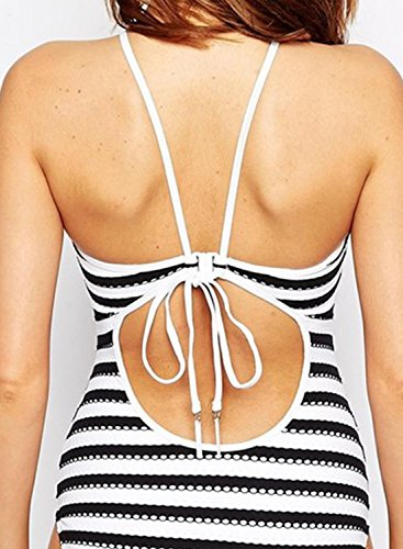 Black amp;white Women's Chevron Piece Print Swimsuit Halter Achicgirl One Fpw1qA