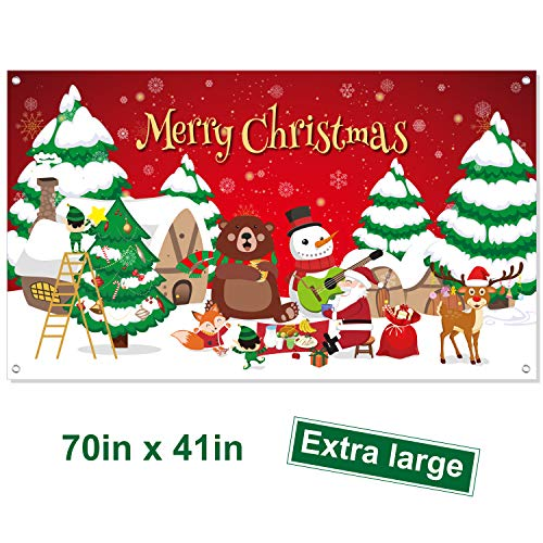 FEPITO Merry Christmas Banner Extra Large Xmas Sign 70In X 41In Christmas Backdrop Banner for Xmas House Home Decorations Indoor Outdoor Christmas Party Decor Supplies