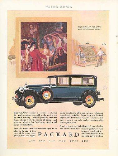 (Packard requires in upholstery . . . 4-door Sedan ad 1928)