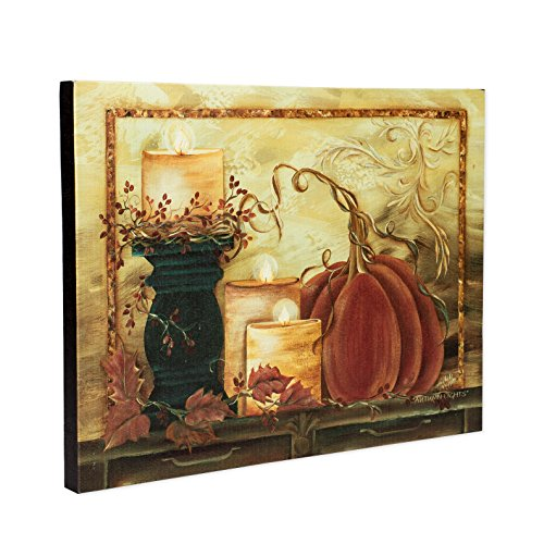Costumes Gallery Discount (Pillar Candles and Pumpkin LED Light-up 12 x 16 Gallery Stretched Canvas Wall Art Plaque)