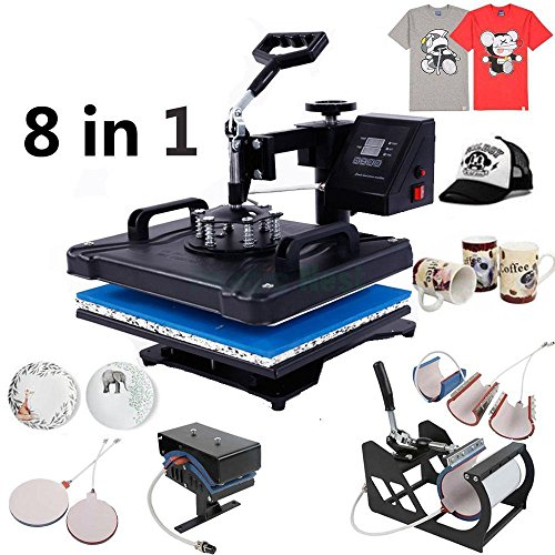 Z ZTDM Digital Heat Press Transfer Sublimation Multifunction Machine,Rhinestone/T-Shirt/Hat/Mug/Plate/Cap Heat Press Mouse Pads Jigsaw Puzzles DIY, Curved Element with Dual LCD Timer 110V (8 in 1) by Z ZTDM