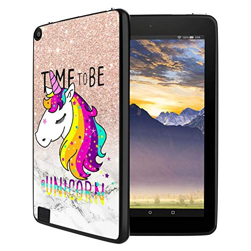 GinHo Customized Protective Cover with Slim Soft Durable TPU Ultra-Black Silicone UV Printing Case for Glitter Unicorn Kindle Fire 7 - Durable Printing
