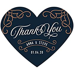 Andaz Press Navy Blue Art Deco Vintage Party Wedding Collection, Personalized Heart Label Stickers, Thank You Anna & Steve January 4, 2020, 75-Pack, Custom Names and Date