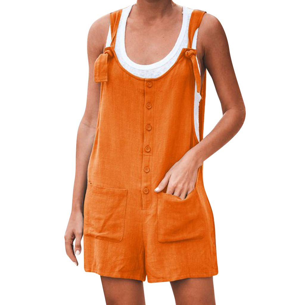Sunnyadrain Femme Salopette Été Jumpsuit Combinaisons avec Poches Bodysuit Loose Casual Large Ample Harem Sarouel Pantalon