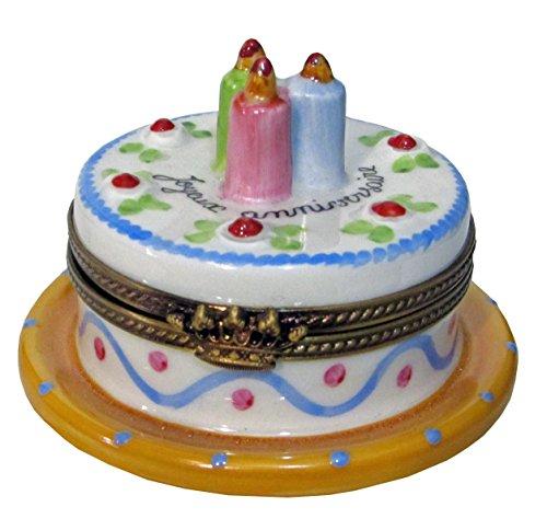 Handpainted Limoges Box Birthday cake with (Limoges Birthday Limoges Box)
