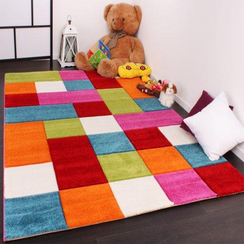 Tapis pour enfant à carreaux multicolore vert rouge bleu crème rose dimension120x170 cm amazon fr cuisine maison