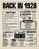 8x10 1928 Birthday Gift // Back in 1928 Newspaper