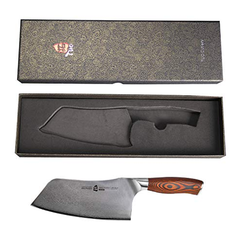 TUO Cutlery Cleaver Knife - Japanese AUS-10 67-Layers Damascus Steel - Chinese Chef's Knife For Meat And Vegetable With Ergonomic Pakkawood Handle - 7'' - Fiery Series by TUO Cutlery (Image #2)