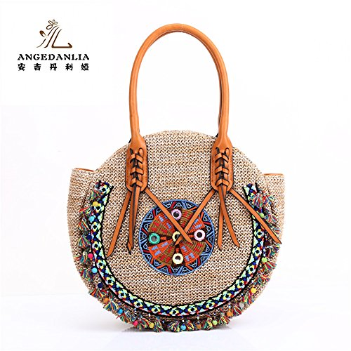 Straw Bag Tote- Angedanlia Woman Round Handmade Purse Summer Beach Woven Shoulder Bag 4190 (Beige)