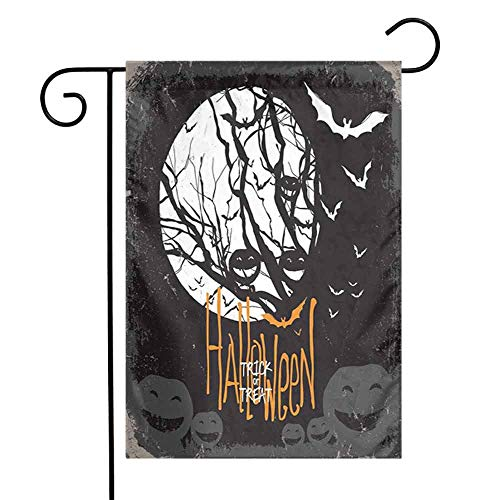 HouseLookHome Vintage Halloween Butterflies and Tulips Spring Garden FlagHalloween Themed Image with Full Moon and Jack o Lanterns on a Tree Spring Garden Flag Flowers W12 x L18 inch Black White -