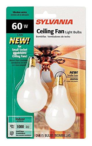 - Sylvania 2-Pack 60 Watt Candelabra Ceiling Fan Light Bulbs